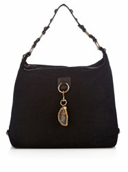 Lanvin Hobo Large Suede Shoulder Bag Black