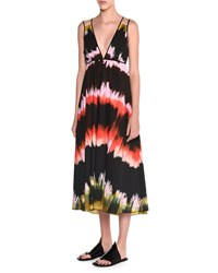 Tomas Maier Sleeveless Paint Striped Sundress Multi Colors Women's