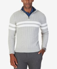 Nautica Men's Ribbed Quarter Zip Sweater Only At Macy's Grey Heather