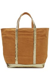 Vanessa Bruno Suede Tote With Sequin Embellishment Beige