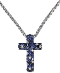 Effy Collection Balissima By Effy Sapphire Cross Pendant Necklace In Sterling Silver 9 10 Ct. T.W.