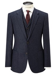 John Lewis And Co. Bennett Donegal Wool Tailored Suit Jacket Blue