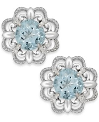 Macy's Aquamarine 1 2 Ct. T.W. And Diamond Accent Earrings In 14K White Gold Blue
