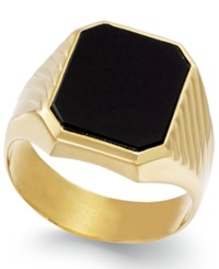 Macy's Men's Onyx 3 3 4 Ct. T.W. Ring In 14K Gold