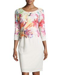 Donna Ricco Floral Applique 3 4 Sleeve Dress Peach Ivory