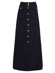 See By Chloe Floor Length Corduroy Stretch Cotton Skirt Dark Blue