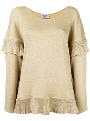 Lanvin Loose Ruffled Hem Blouse Metallic