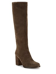 Helmut Lang Solid Leather Tall Boots Grey Olive