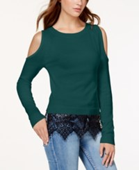 Material Girl Juniors' Cold Shoulder Lace Hem Sweater Only At Macy's Deep Teal