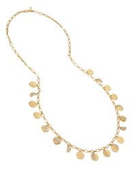 Kenneth Cole Shaky Pave Disc Long Necklace Gold