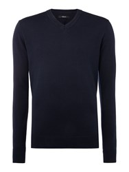 Replay Wool And Cotton V Neck Jumper Dark Blue