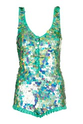 Rosa Bloom Hologram Sequin Playsuit By Mint
