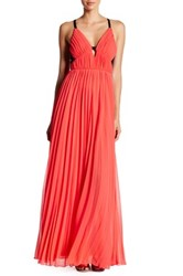 Abs By Allen Schwartz Lace Back Sheer Pleated Gown Orange
