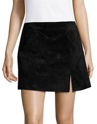 Blank Nyc Front Slit Suede Mini Skirt Black