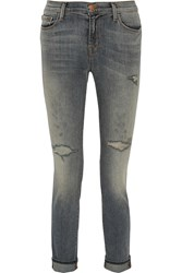 J Brand Distressed Mid Rise Skinny Jeans Blue