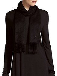 Yves Saint Laurent Fringed Cashmere Scarf Black