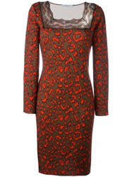 Blumarine Neon Animal Print Dress Brown
