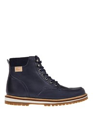 Lacoste Montbard Faux Fur Lined Leather Boots Navy