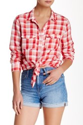 Melrose And Market Linen Blend Classic Check Shirt Red
