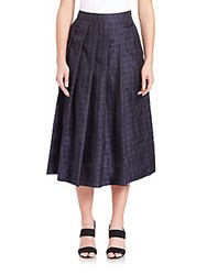 Pauw Box Pleated Check Skirt Navy