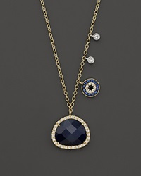 Meira T 14K Yellow Gold Sapphire Evil Eye Disc Necklace With 14K White Gold Side Bezels 16 Gold Blue