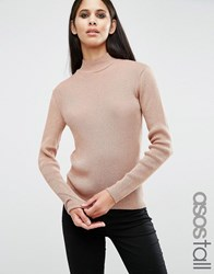 Asos Tall Jumper With High Neck In Metallic Nude Pink