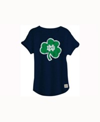 Retro Brand Women's Notre Dame Fighting Irish Rolled Sleeve T Shirt Navy