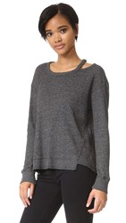 Wilt Open Neck Thermal Slouchy Top Black Heather