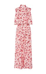 Lela Rose Flounced Top Jumpsuit Pink