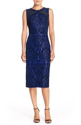 Women's Eci Flecked Scuba Sheath Dress Cobalt Black