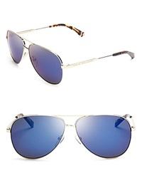 Marc By Marc Jacobs Mirrored Aviator Sunglasses Gold Blue Mirror