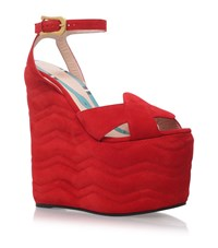 Gucci Sally Panel Wedges Female Red
