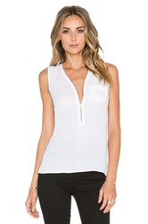 The Kooples Tank Top With A Zip Neckline In Silk White