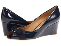 Salvatore Ferragamo Sissi Oxford Blue Patent Women's Wedge Shoes