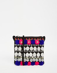 Asos Festival Coin And Pom Cross Body Bag Multi