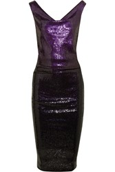 Donna Karan Ombre Sequined Stretch Jersey Dress Purple