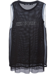 Blk Dnm Dawn Of Peace Print Mesh Top Black