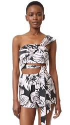 Kendall Kylie One Shoulder Silk Top Leaf Print