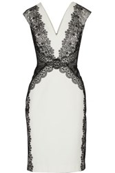 Catherine Deane Faith Lace And Mesh Paneled Stretch Ponte Dress Ivory