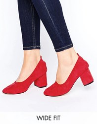 Asos Simone Wide Fit Heels Red
