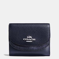 Coach Double Flap Small Wallet In Colorblock Leather Silver Navy Navy Metallic
