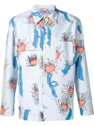 Julien David Floral Shirt Jacket Blue
