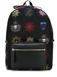 Alexander Mcqueen Skull Badge Print Backpack Black