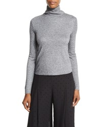 See By Chloe Long Sleeve Turtleneck Chiffon Back Top Gray Grey