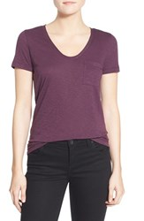 Caslonr Petite Women's Caslon Relaxed Slub Knit U Neck Tee Purple Bramble