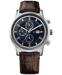 Tommy Hilfiger Men's Cool Sport Brown Leather Strap Watch 44Mm 1791244