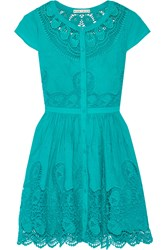 Alice Olivia Kaley Crochet Trimmed Embroidered Cotton Mini Dress Turquoise