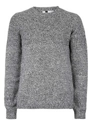 Topman Mid Grey Black Twist Textured Yoke Sweater