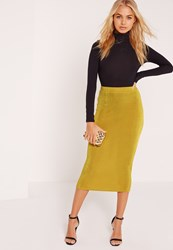 Missguided Textured Slinky Midi Skirt Chartreuse Green