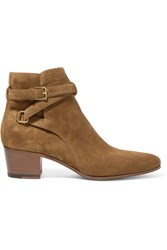 Saint Laurent Blake Suede Ankle Boots Tan